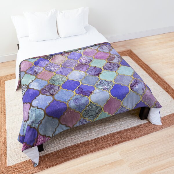 Royal Purple, Mauve & Indigo Decorative Moroccan Tile Pattern Comforter
