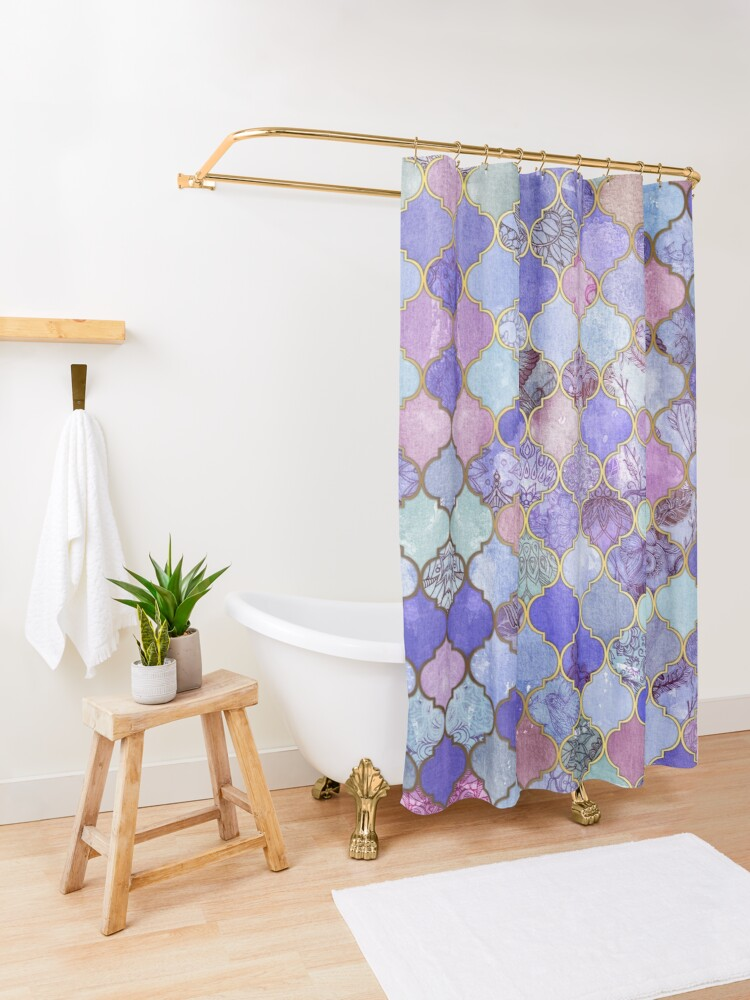 Alternate view of Royal Purple, Mauve & Indigo Decorative Moroccan Tile Pattern Shower Curtain