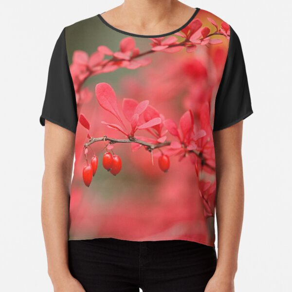 Close-up of red barberry in autumn Chiffon Top