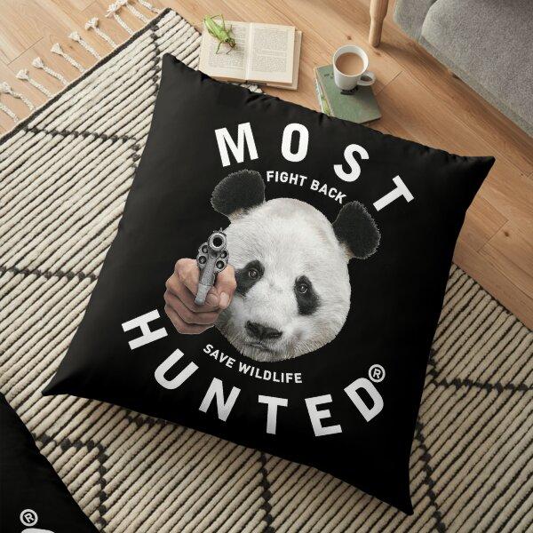 MOST HUNTED REAL PANDA BEAR HEAD SAVE WILDLIFE STATEMENT Floor Pillow