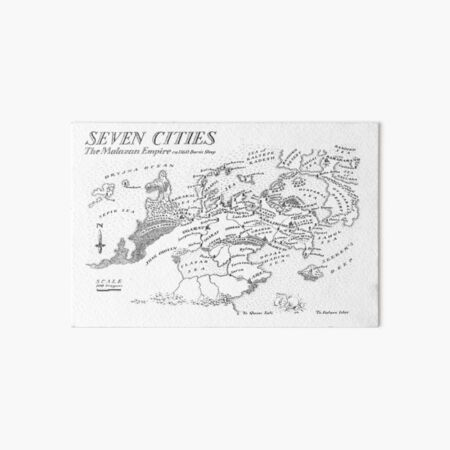 Malazan Seven Cities Map Black Design Art Board Print