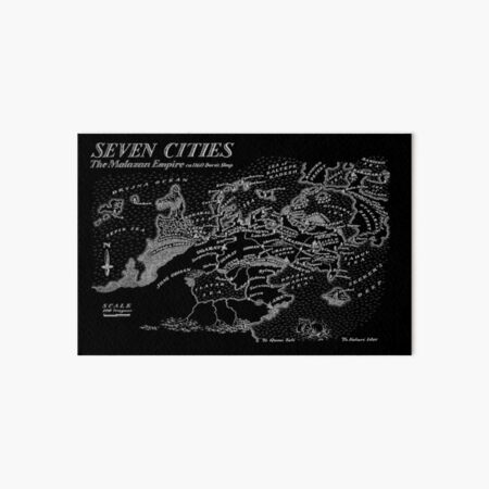 Malazan Seven Cities Map White Design Art Board Print
