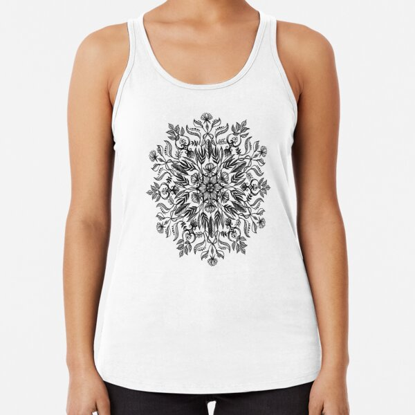 Thrive - Monochrome Mandala Racerback Tank Top