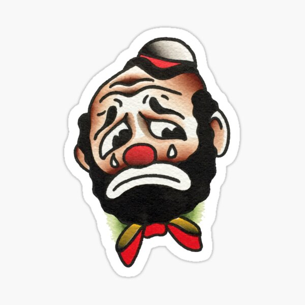 Traditional Crying Clown Tattoo Design Sticker