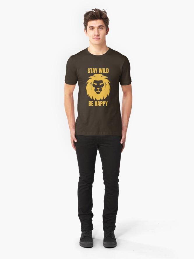 Alternative Ansicht von Stay Wild Be Happy - Cool Safari Animal Slim Fit T-Shirt
