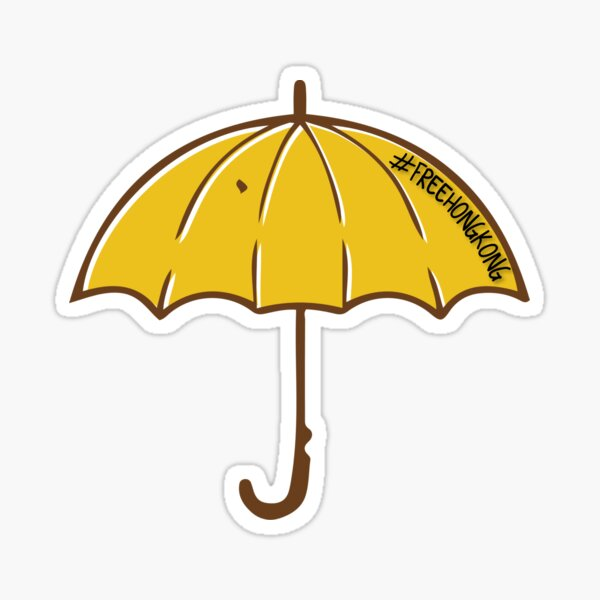 Yellow Umbrella Free Hong Kong 2019 Sticker