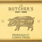Vintage Butchers Shop Print of Cuts of Pork by HotHibiscus