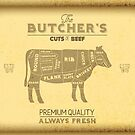 Vintage Butchers Shop Print of Cuts of Beef by HotHibiscus