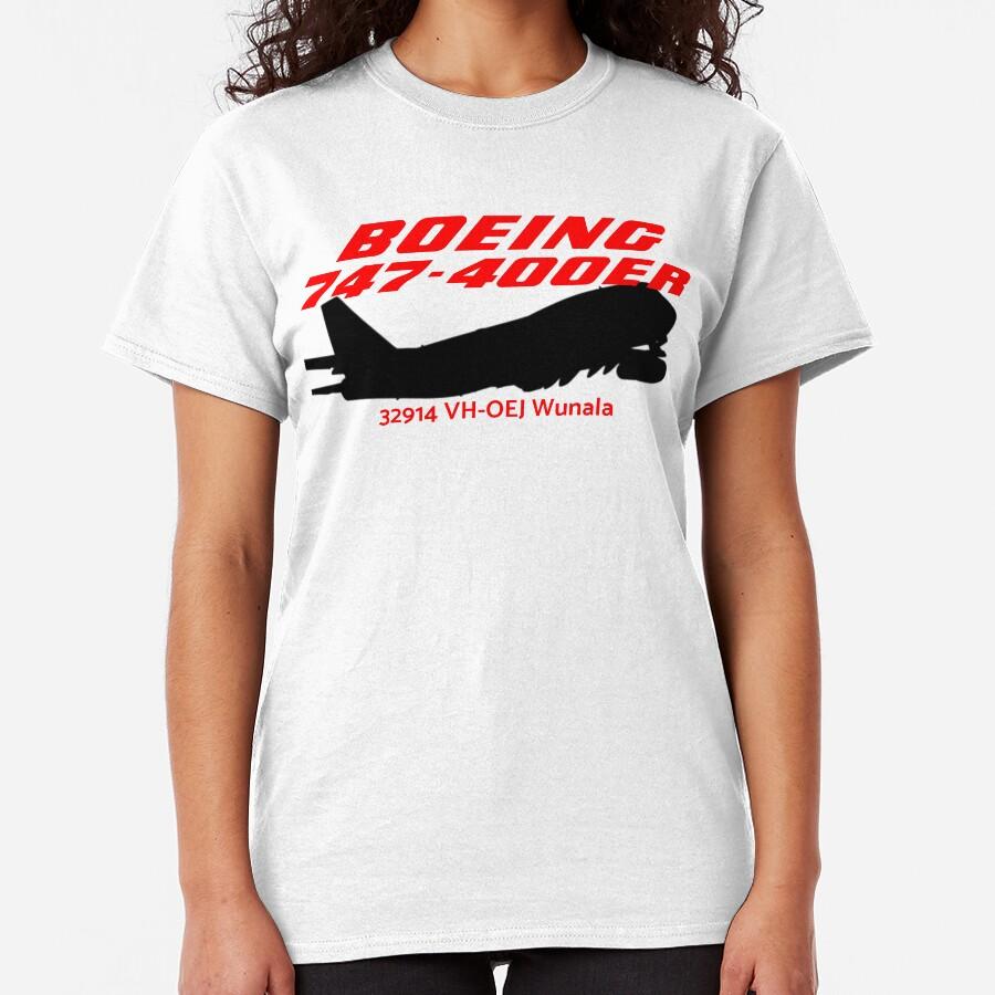 Boeing 747-400ER 32914 VH-OEJ (Black)  Classic T-Shirt