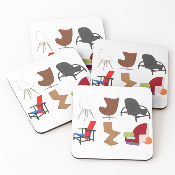 tiny chairs flat colour Coasters (Set of 4)