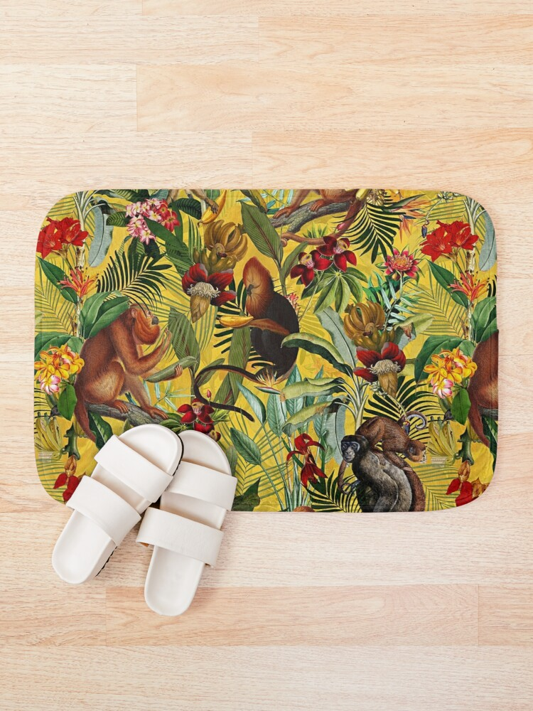 Alternate view of Tropical monkey jungle pattern - yellow Bath Mat