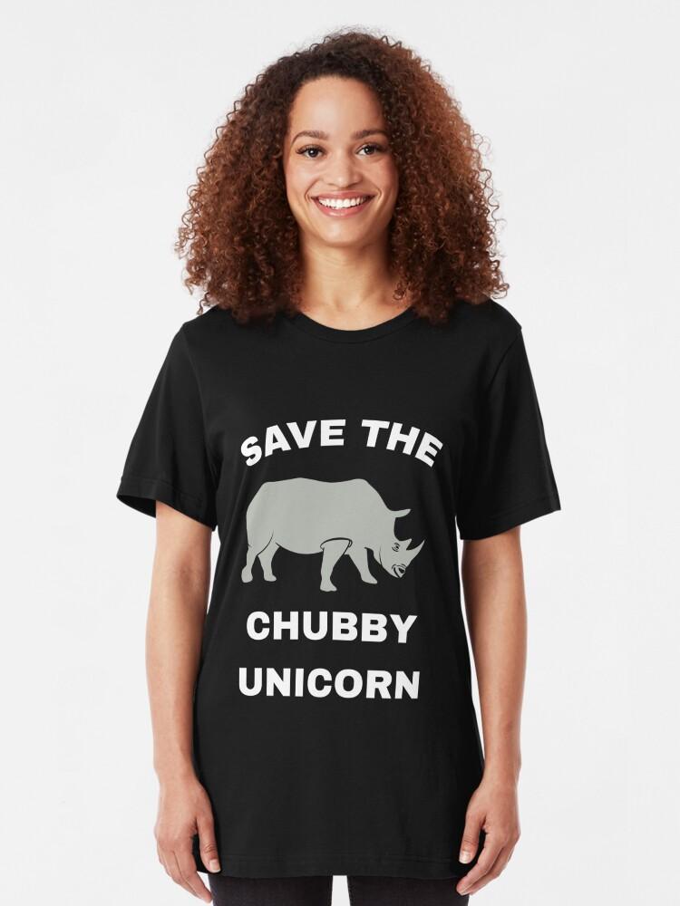 Alternative Ansicht von Stop Poaching Rhinos - Save The Chubby Unicorn Slim Fit T-Shirt