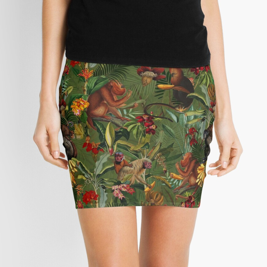 Tropical monkey jungle pattern - dark green Mini Skirt