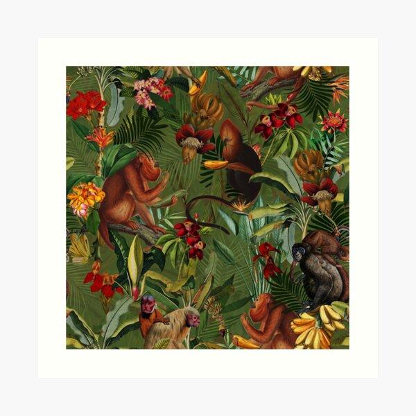 Tropical monkey jungle pattern - dark green Art Print