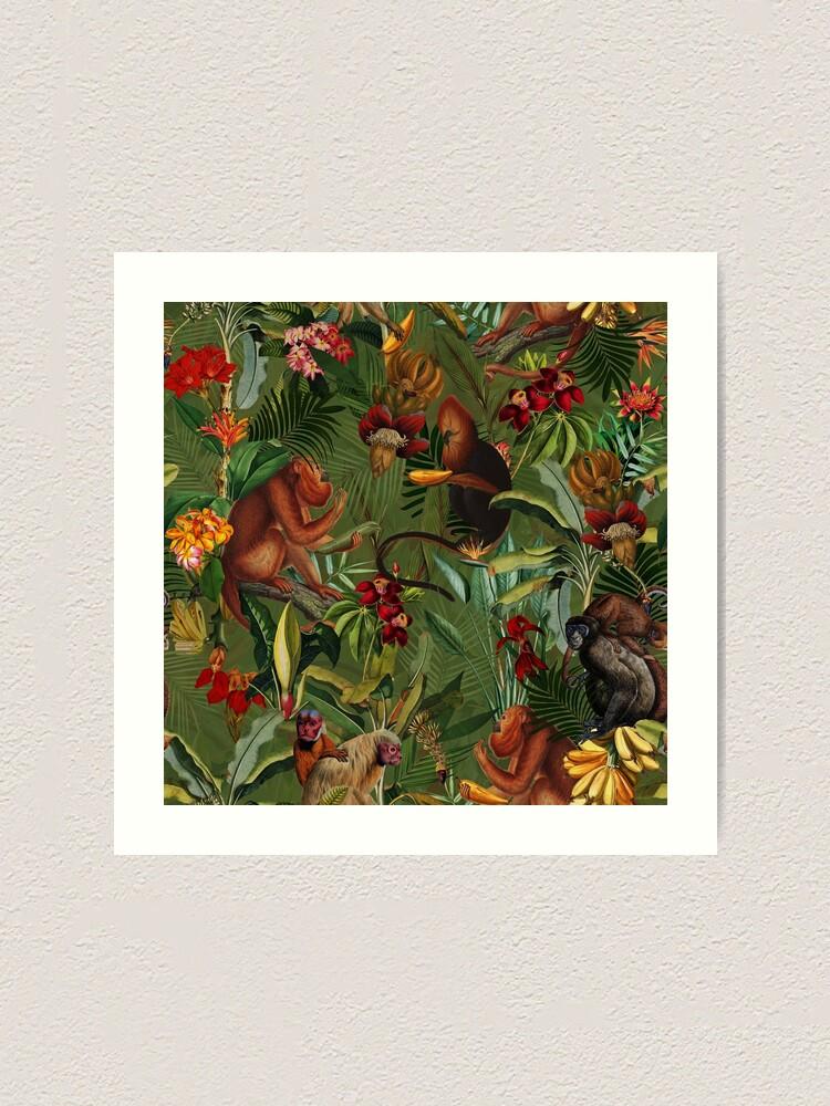 Alternate view of Tropical monkey jungle pattern - dark green Art Print