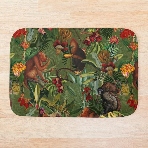 Tropical monkey jungle pattern - dark green Bath Mat