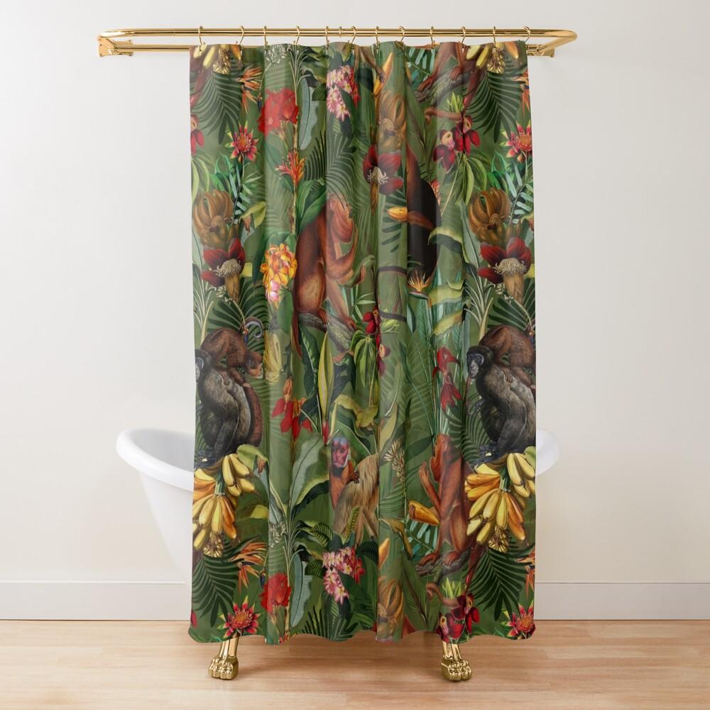 Brown Green Shower Curtain Wild Cute Monkey Print for Bathroom
