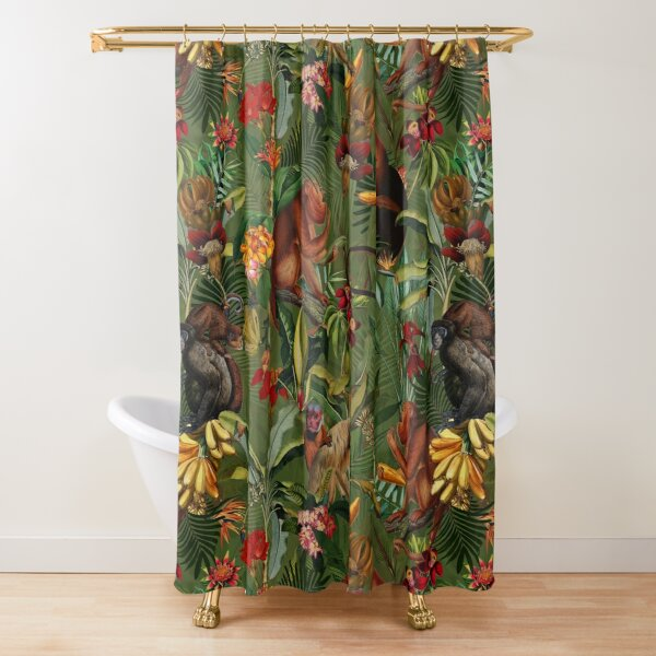 Tropical monkey jungle pattern - dark green Shower Curtain