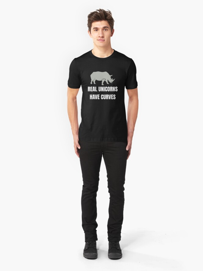 Alternative Ansicht von Funny Safari Animal - Real Unicorns Have Curves Slim Fit T-Shirt
