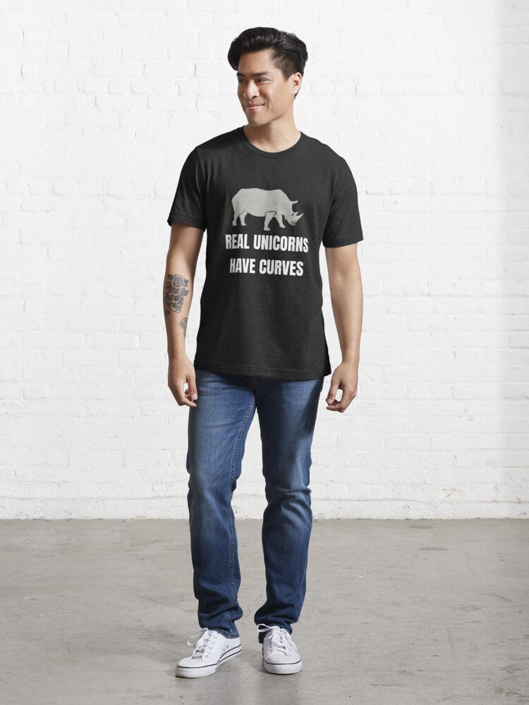 Alternate view of Funny Safari Animal - Real Unicorns Have Curves Essential T-Shirt