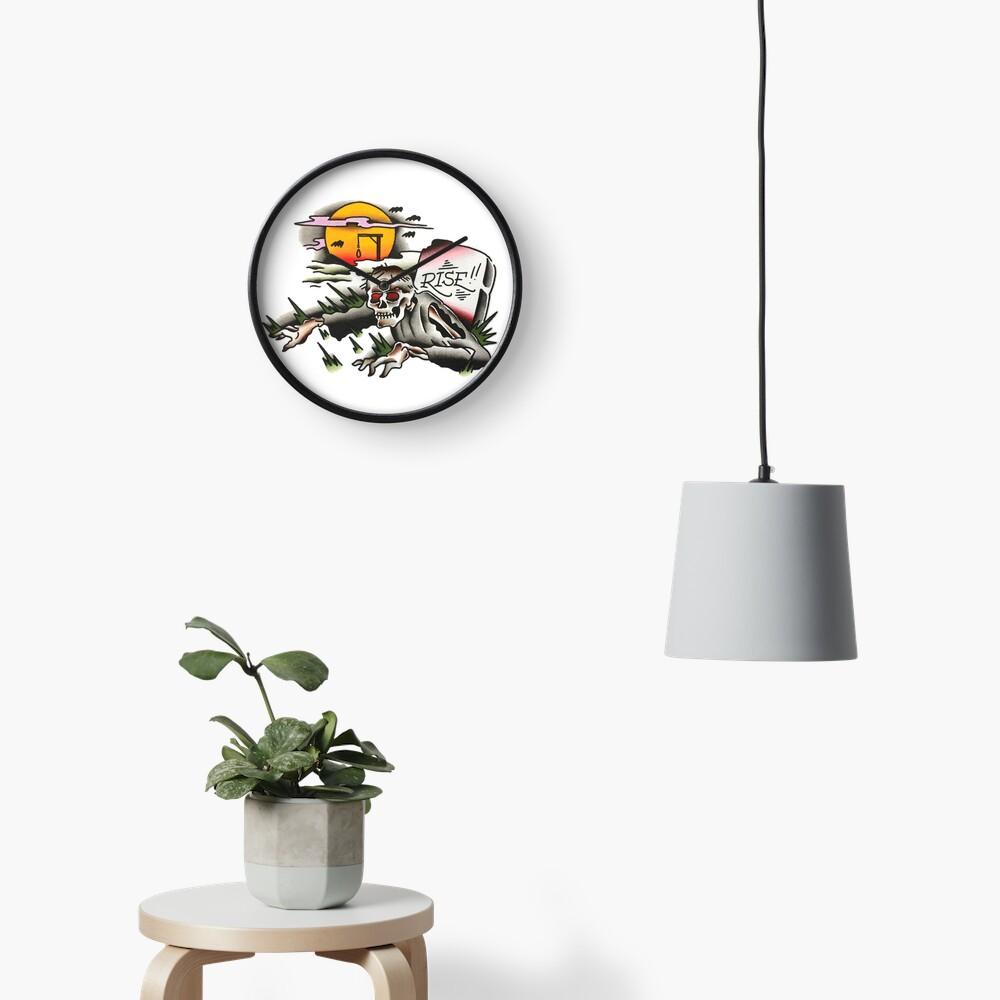 Traditional Rising Zombie Tattoo Design Clock