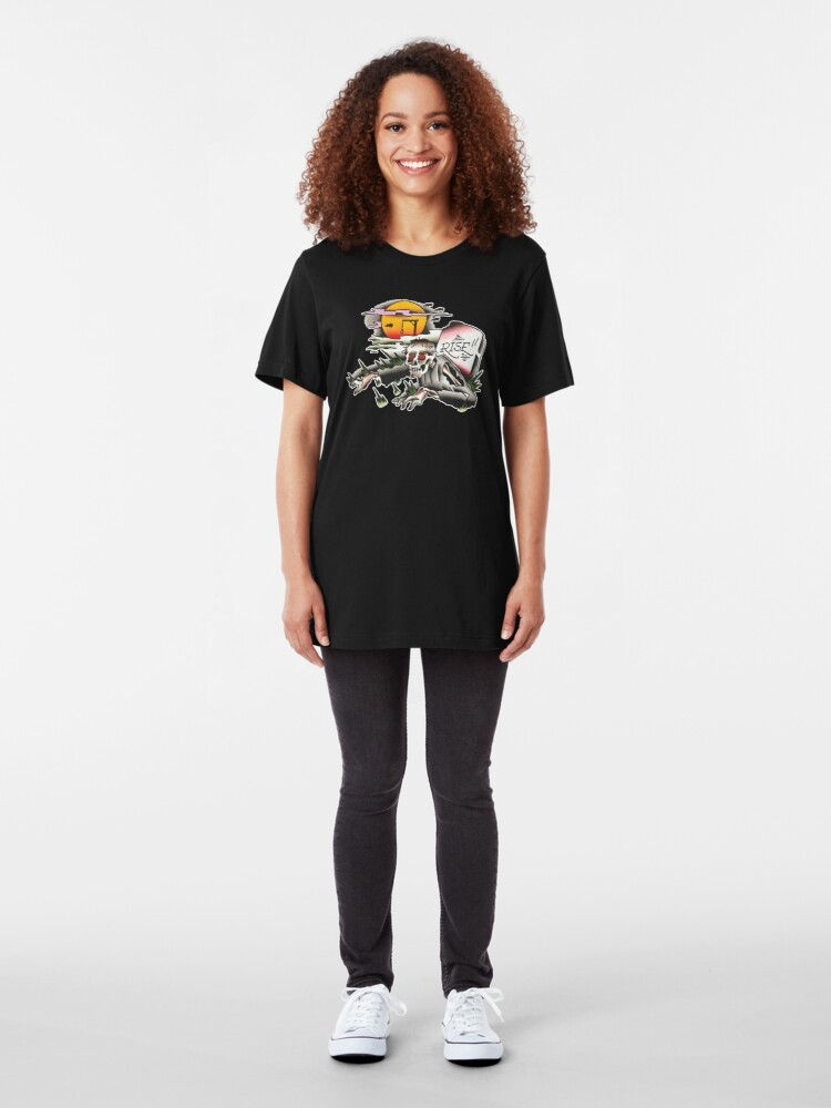 Alternate view of Traditional Rising Zombie Tattoo Design Slim Fit T-Shirt