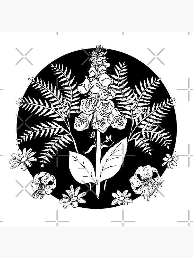 Foxglove ferns | PNW botanical illustration by craftordiy