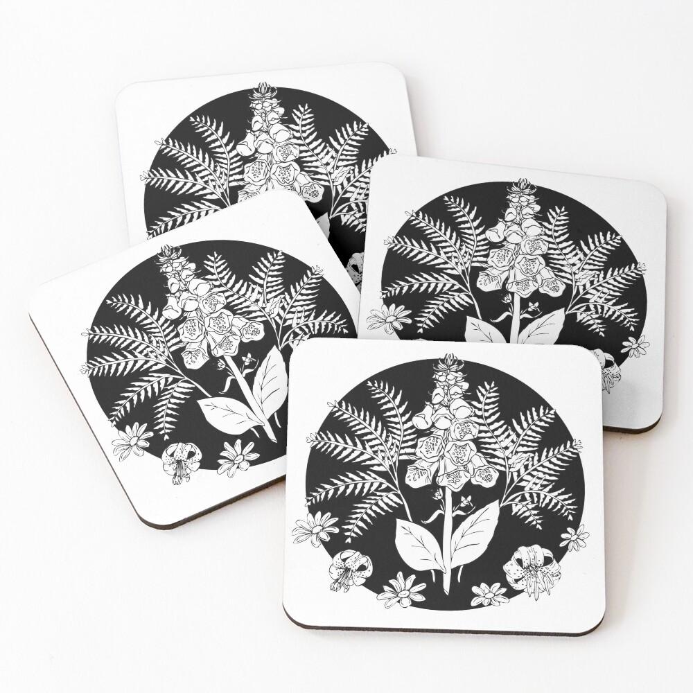 Foxglove ferns | PNW botanical illustration Coasters (Set of 4)