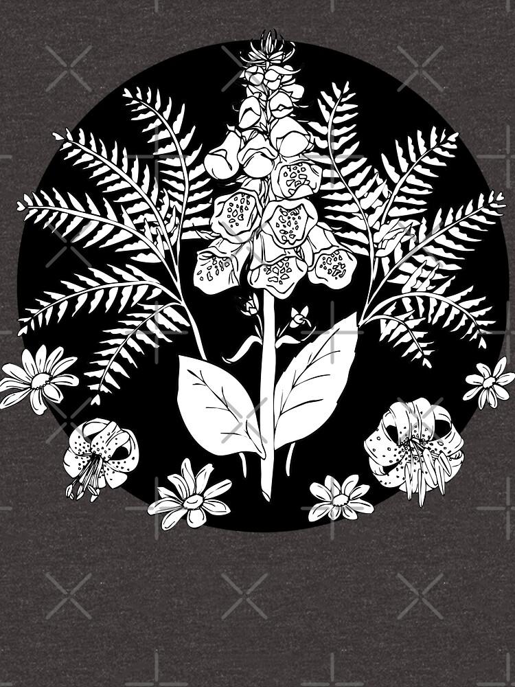Foxglove ferns   PNW botanical illustration by craftordiy