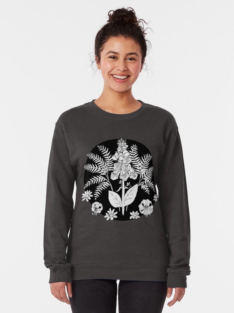 Alternate view of Foxglove ferns   PNW botanical illustration Pullover Sweatshirt