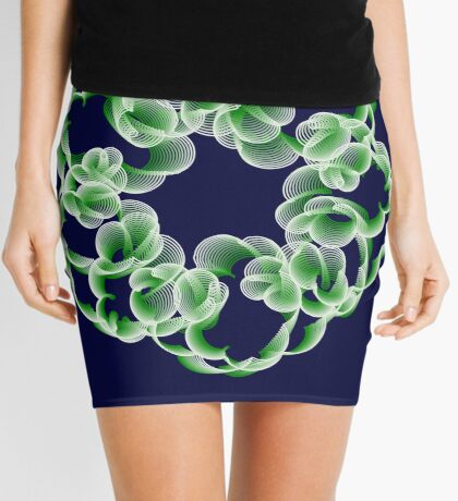 Spirals with Green and White Mini Skirt