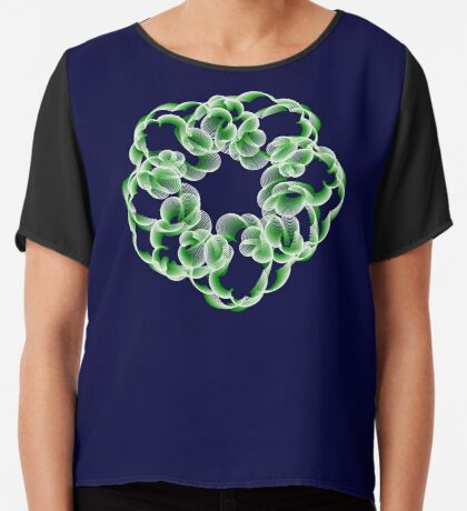 Spirals with Green and White Chiffon Top