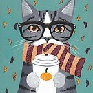 Grey Tabby Autumn Coffee Cat by Ryan Conners