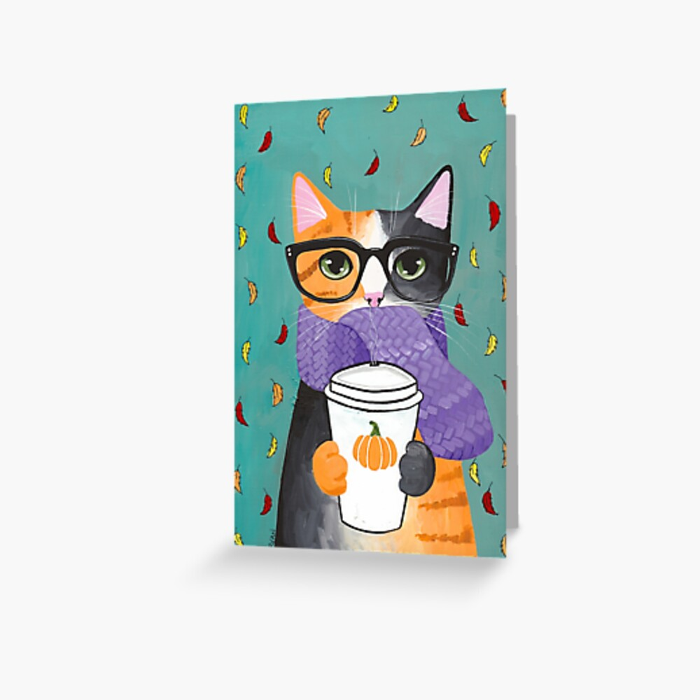 Calico Autumn Coffee Cat Greeting Card