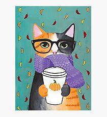 Calico Autumn Coffee Cat Photographic Print