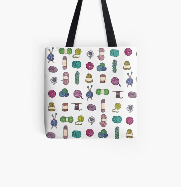 Balls of Yarn - Knitting Watercolor All Over Print Tote Bag
