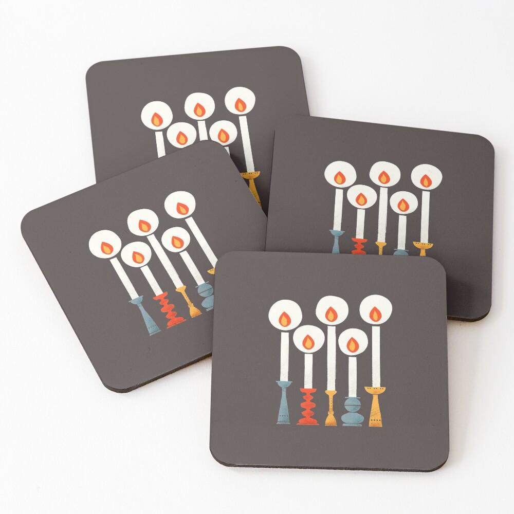 Christmas Retro Candles Coasters (Set of 4)