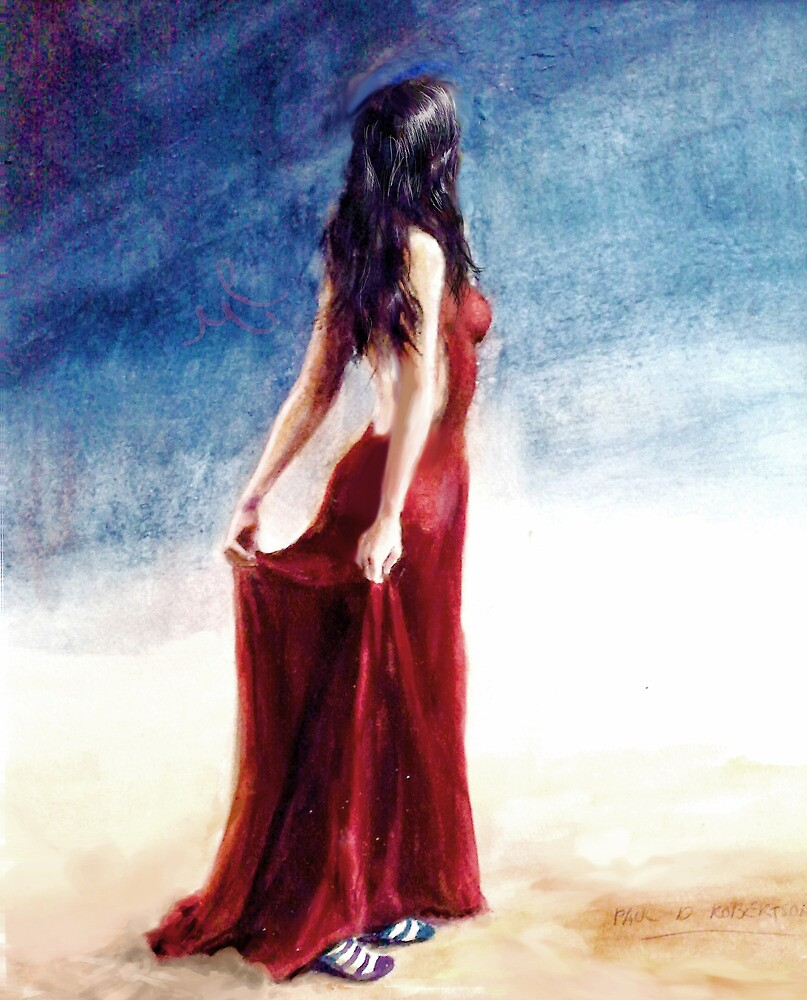 If Love is a Red Dress; watercolors by pauldrobertson