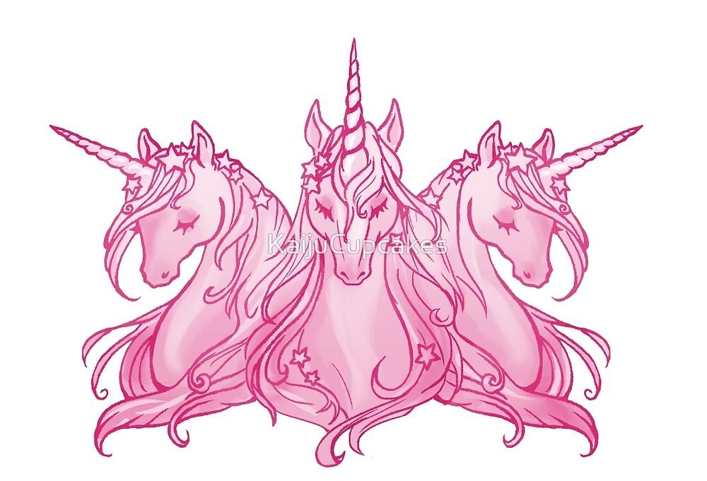 Unicorn trio Pink by KaijuCupcakes