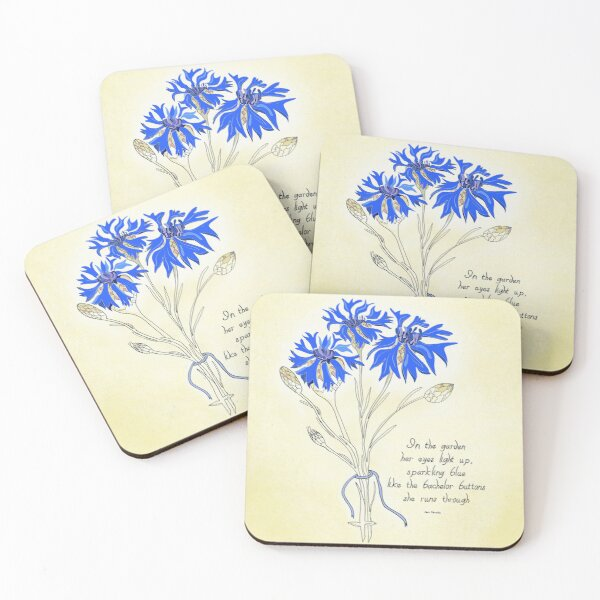 Delightful Bachelor Button Bouquet Poem Eyes Light Up Cheerful Coasters (Set of 4)
