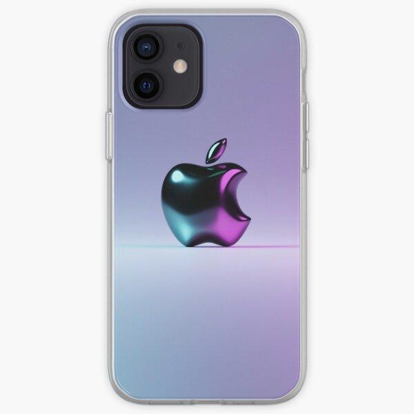 Black Shiny Apple 3D v1 iPhone Soft Case