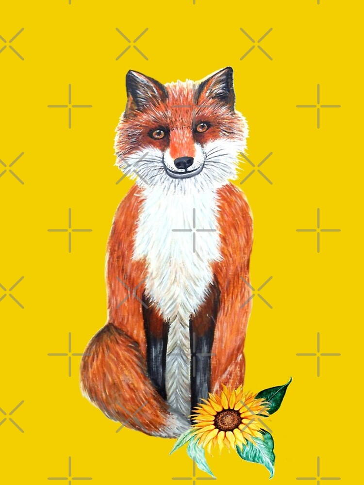 cute fox on yellow with sunflower by MagentaRose