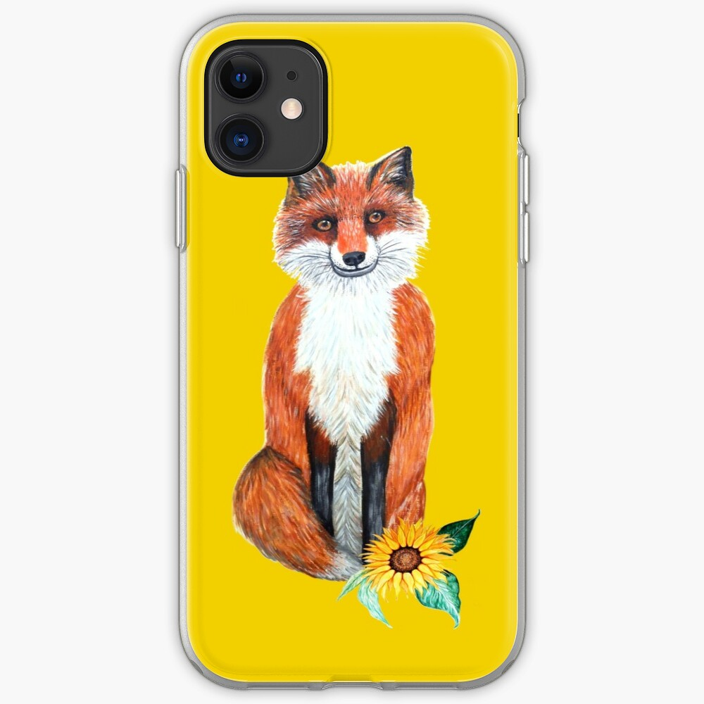 cute fox on yellow with sunflower iPhone Case & Cover