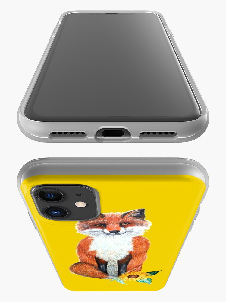 Alternate view of cute fox on yellow with sunflower iPhone Case & Cover