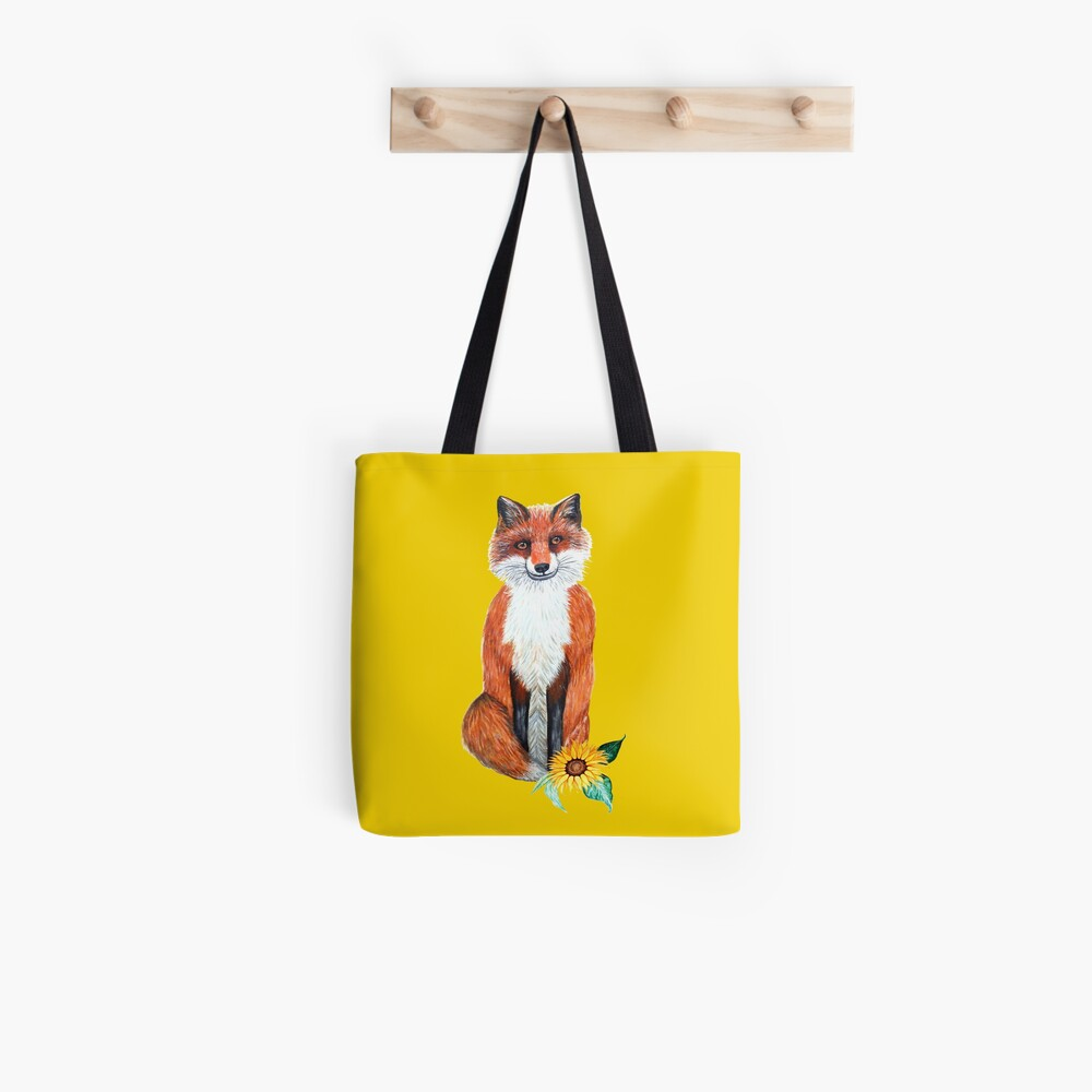 fox on yellow with sunflower Tote Bag