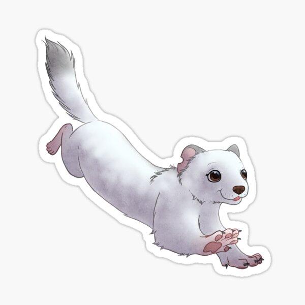 Cute happy ferret mink weasel panda albino Sticker
