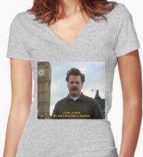 Ron Swanson Hates Europe Women's Fitted V-Neck T-Shirt