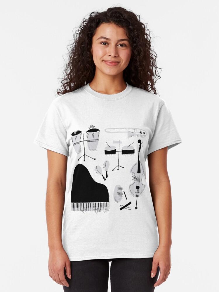 Vista alternativa de Camiseta clásica Instrumentos para tocar música salsa