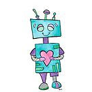 Blue Robot with Heart by whimsystation