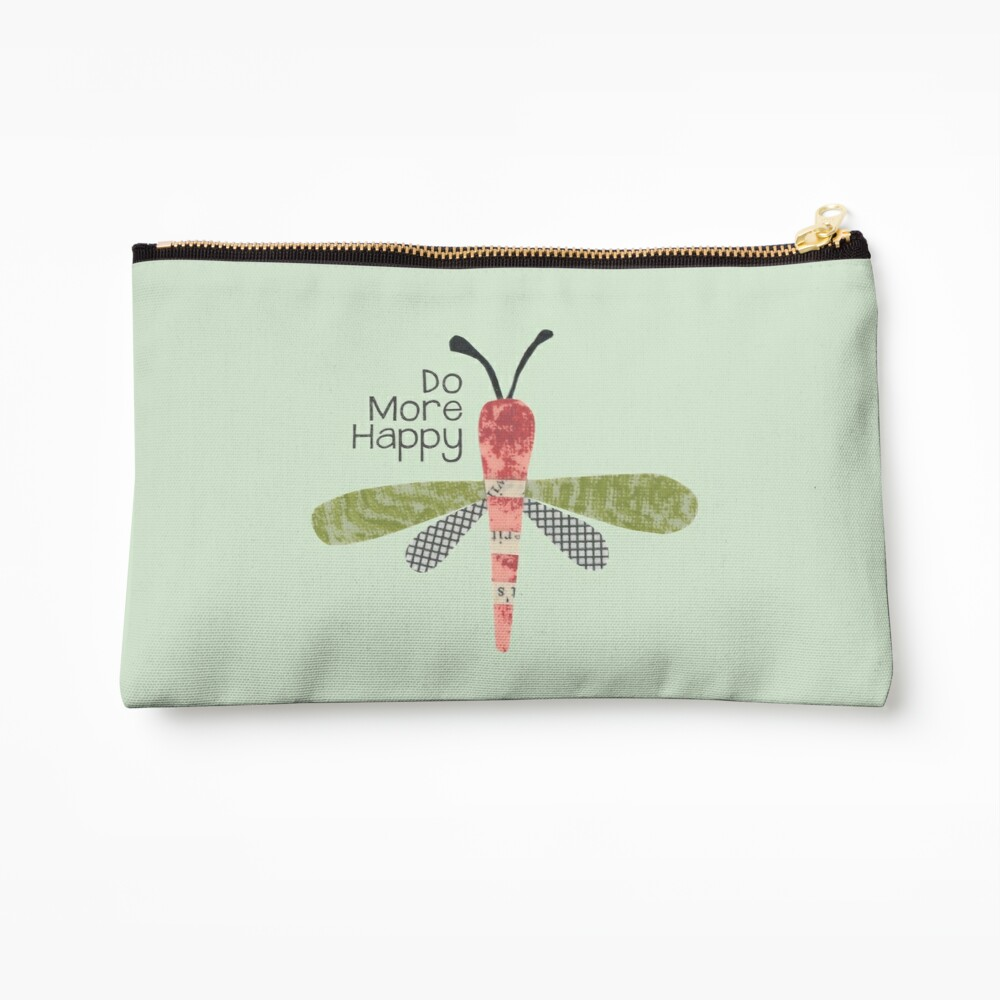 Do More Happy Dragonfly (red) Zipper Pouch